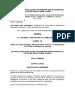 Ley Para La Inclusión de Las Personas Con Discapacidad en El Estado 12 de Sept 2014