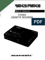 PMD430 Marantz Casette Recorder Manual