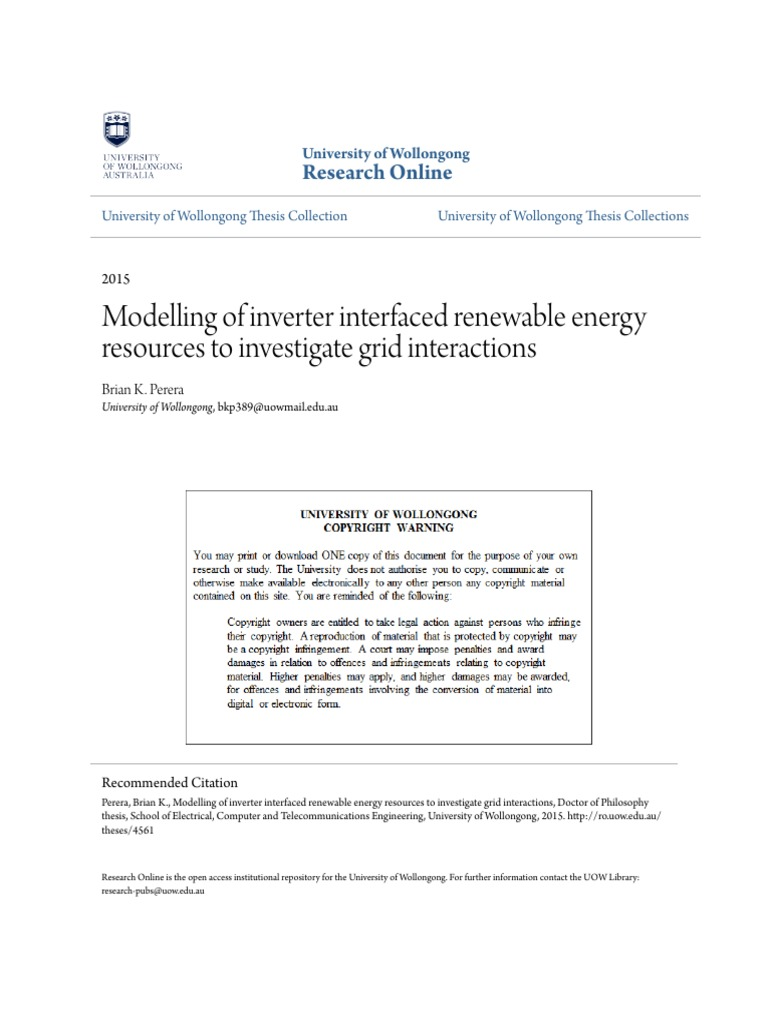 Modelling Of Inverter Interfaced Renewable Energy Resources To In