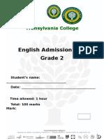 English Admission Test Grade 2