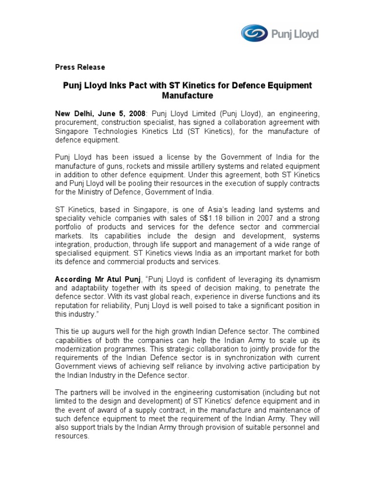 Punj Lloyd Inks Pact With St Kinetics For Defence Equipment