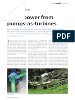 Hydro power from Pump as Turbines
