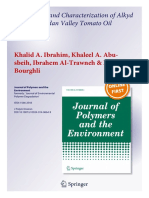 Preparation Characterization of Alkyd Resins of Jordan Valley Tomato Oil