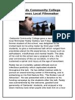 oaklands community college welcomes local filmmaker