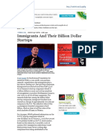 Immigrants and Their Billion Dollar Startups