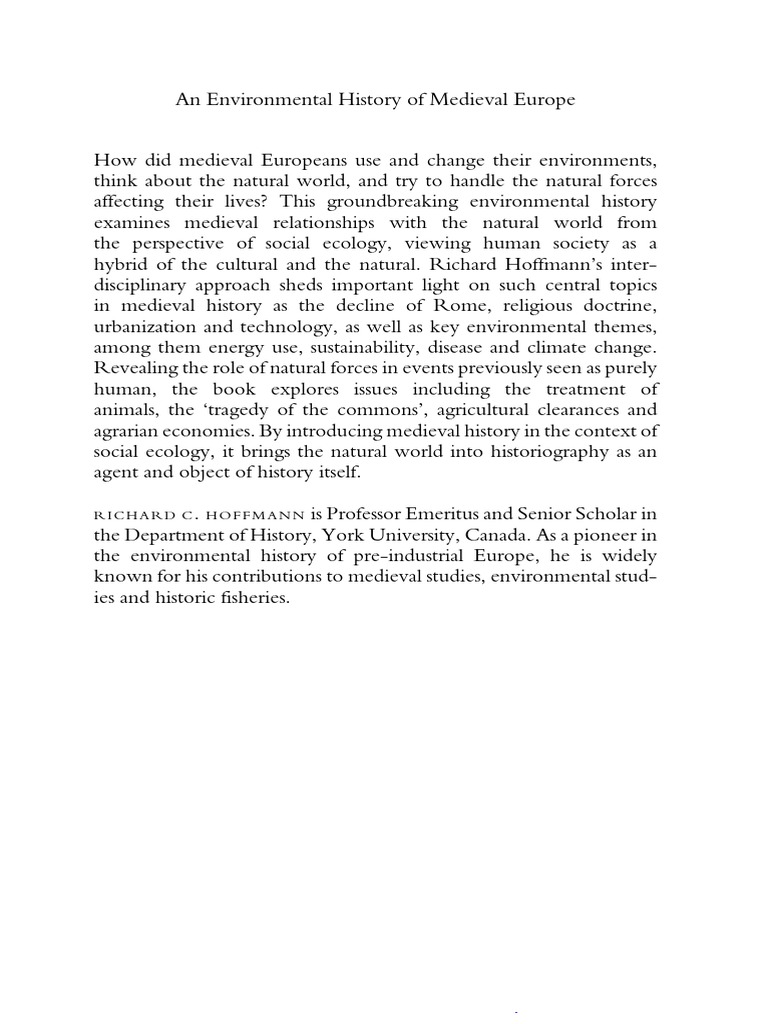 Richard Hoffmann an Environmental History of Medieval Europe ...