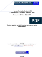 Linard_2010_MES_Program Evaluation - Turning Data Into Useful Information