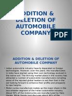 Addition & Deletion of Automo
