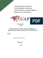 Propuesta de Un Plan Integral de Gestion Ambiental de Residuos Solidos Para El Distrito de Villa El Salvador 2015