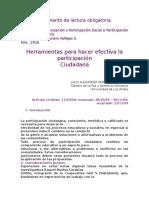 Herramientas para Hacer efectiva la particupación Ciudadana