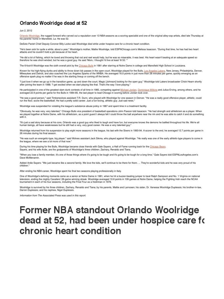 ARTICLE Orlando Woolridge Dead at 52 Ball Games