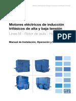 WEG Motores de Induccion Trifasicos de Alta y Baja Tension Linea m Rotor de Jaula Horizontales 11171351 Manual Espanol