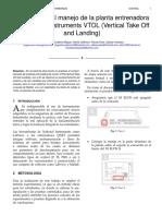 Introduccion al manejo de la planta entrenadora de National Instruments VTOL (Vertical Take Off and Landing)