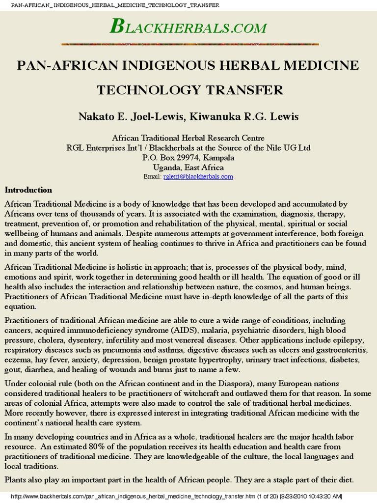 Pan African Indigenous Herbal Medicine Technology Tranfer | Herbalism |  Slavery