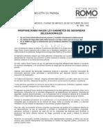 PROPONE ROMO HACER LEY GABINETES DE SEGURIDAD DELEGACIONALES