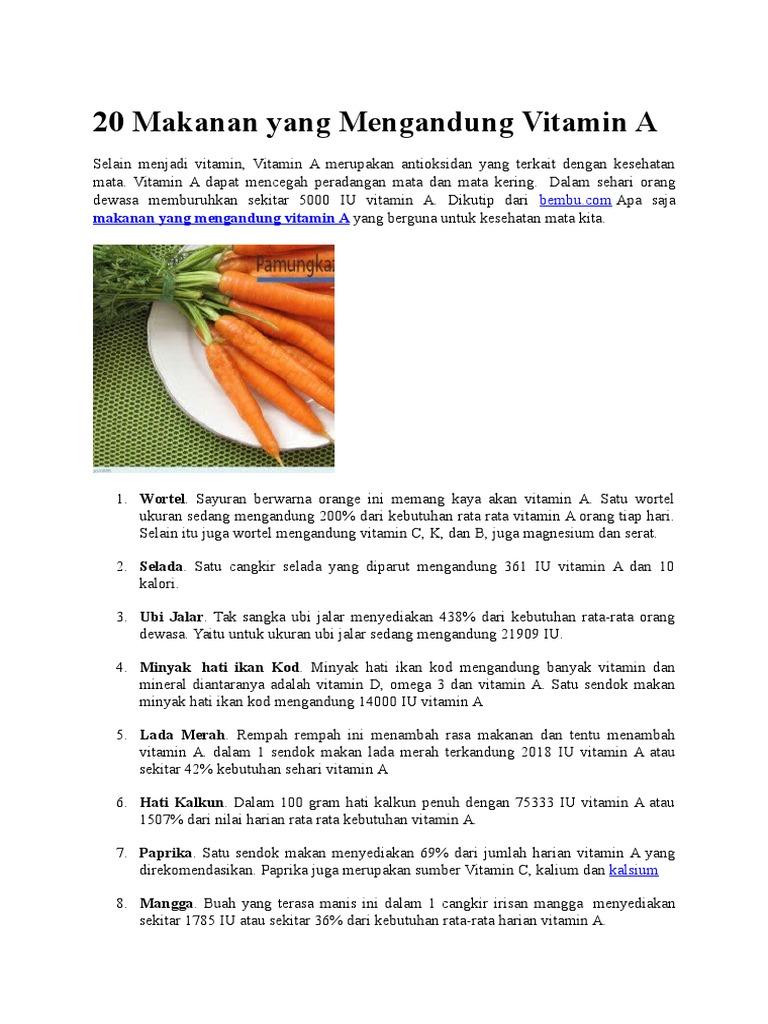 20 Makanan Yang Mengandung Vitamin A
