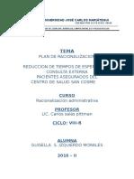 Plan de Racionalizacion - Atencion de Pacientes Sis c.s.s.c