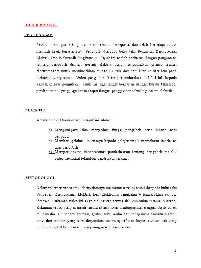 Contoh Laporan Perancangan Awal Projek Video Production