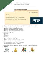 Examen B2 ESPAÑOL 1 de Primaria
