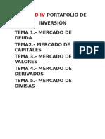 Unidad IV Portafolio de Inversión