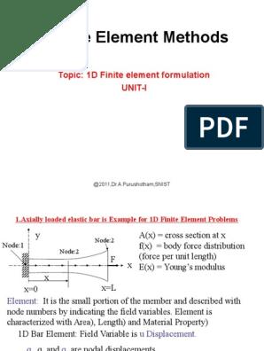 FEM Unit-1 1D_Element | Finite Element Method | Mechanics