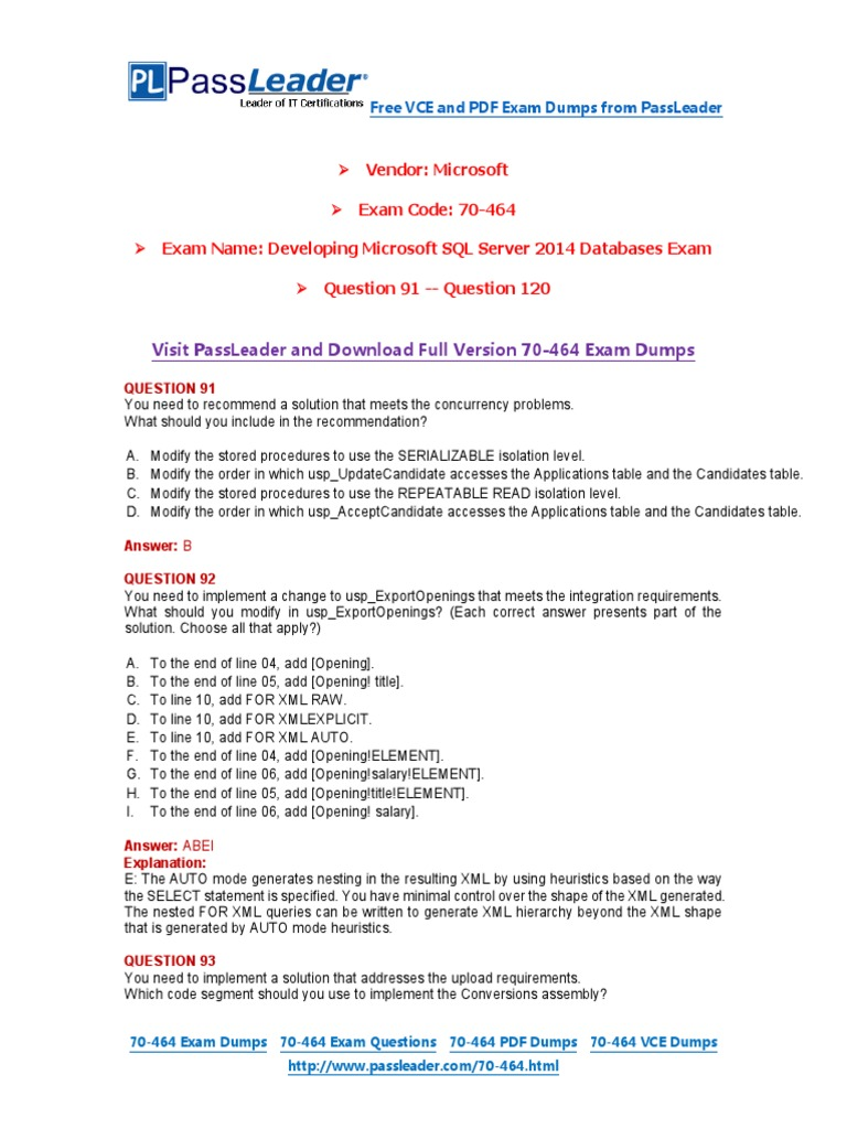 70 464 Exam Dumps With Pdf And Vce Download 91 120pdf Microsoft