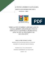 Simulación numérica bifásica de un canal abierto atravesado por un obstáculo cilíndrico horizontal - Pablo Guzmán Castro