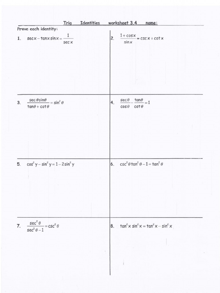 trig identities worksheet with answers 2 – Trigonometric Identities Worksheet