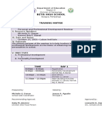 Training Matrix Sample