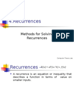 Recurrences and Methods for Solution