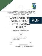 Administración Estratégica de Hotel Cabañas Luxury