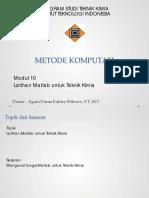 Modul 10 Latihan Matlab Untuk Teknik Kimia