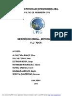 MEDICION DEL CAUDAL-METODO DE FLOTADOR