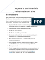 Requisitos Para La Emisión de La Cédula Profesional en El Nivel Licenciatura