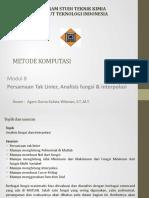 Modul 8 Persamaan Tak Linier, Analisis Fungsi & Interpolasi