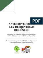Anteproyecto Ley Identidad de Género - Bolivia