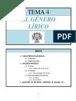 TEMA 4, EL GÉNERO LÍRICO.