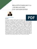 La Interrelación Familiar y La Práctica de Relaciones Sexuales en Adolescentes