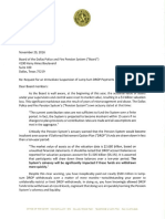 Dallas Mayor Mike Rawlings Letter to Dallas Police and Fire Pension System