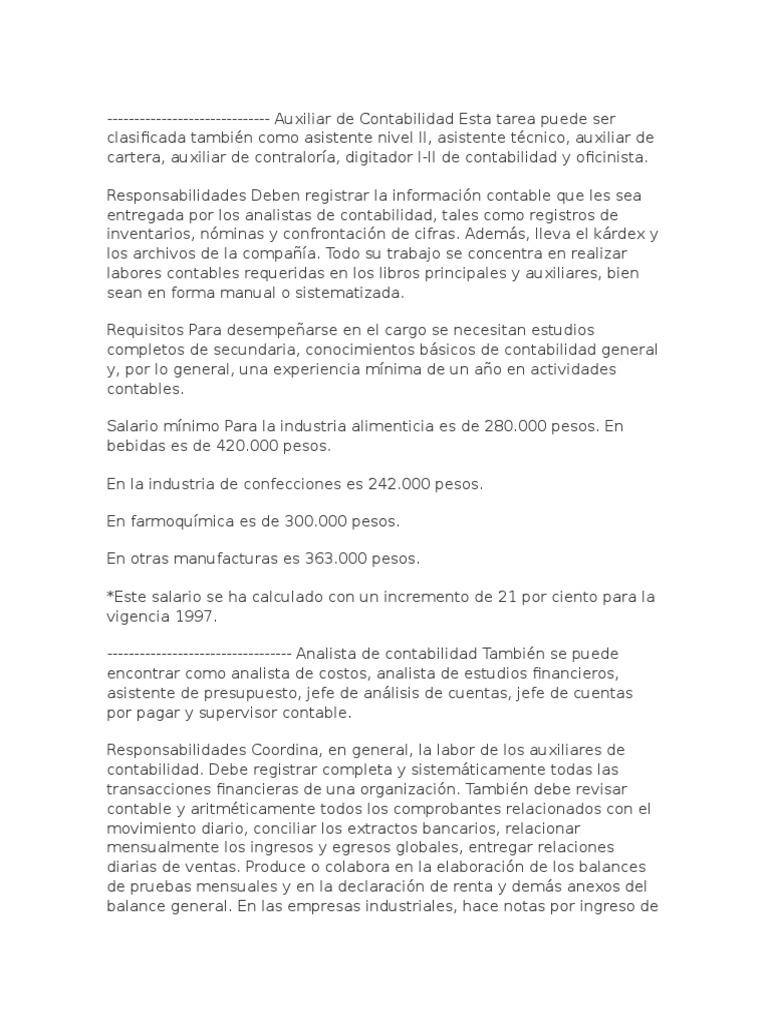 Lujoso Cuentas Por Pagar Especialista Descripción Del Puesto De ...