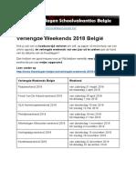 Verlengde Weekends 2018 Belgie - Exacte datums op kalender