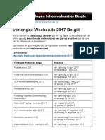 Verlengde Weekends 2017 Belgie - Exacte datums op kalender