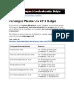 Verlengde Weekends 2016 Belgie - Exacte datums op kalender