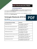 Verlengde Weekends Belgie - Exacte datums op kalender