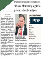 25-11-16 Logra el municipio de Monterrey segundo lugar en transparencia fiscal en el país