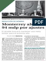 30-11-16 Monterrey ahorra 94 mdp por ajustes