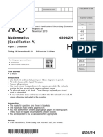 AQA GCSE Maths Linear Calculator Higher Nov 2010 Question Paper