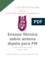 Ensayo Técnico sobre antena dipolo para FM