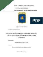 Articulo Científico - ESTUDIO LITOLÓGICO, ESTRUCTURAL Y SU RELACIÓN CON LA MINERALIZACIÓN. DISTRITO LLACANORA. CAJAMARCA