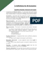 IB Econ Definitions